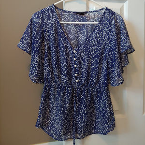 Forever 21 Navy Blue Pearl Button Blouse